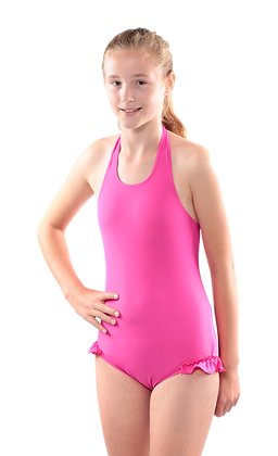 Girl's Halterneck Swimsuit with Leg Frill