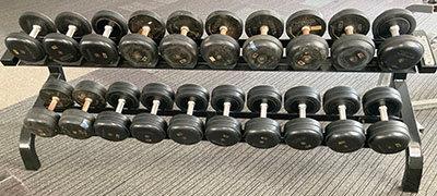 ラバーダンベル12kg-30kg ラック付