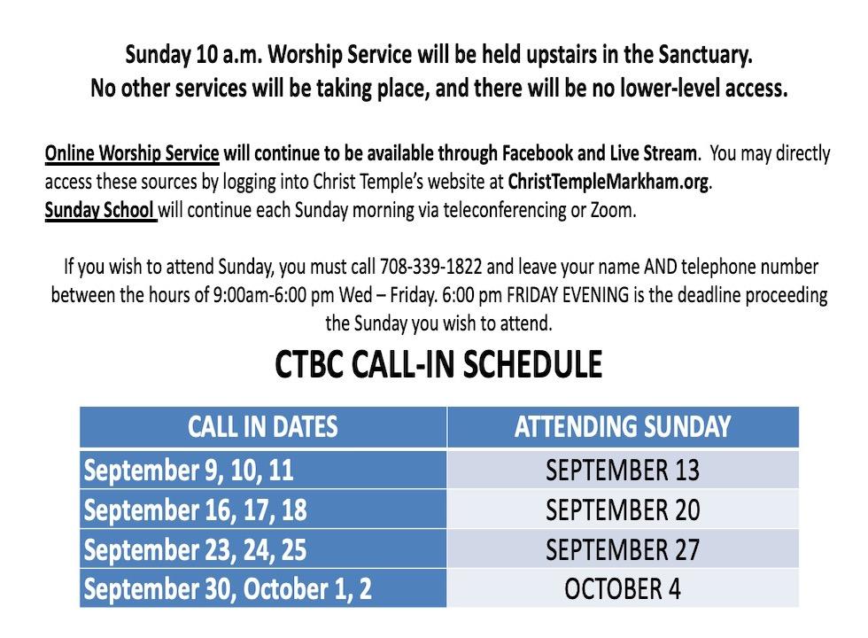 Call in Schedule