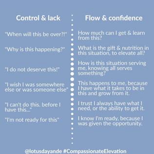Control & lack mentality vs. Flow & confidence