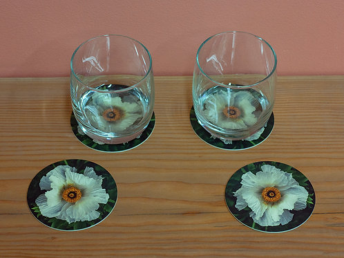 White Poppy Coasters