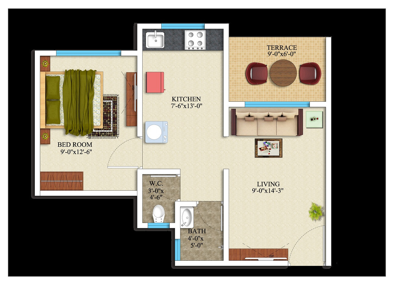 1BHK- 395 square feet