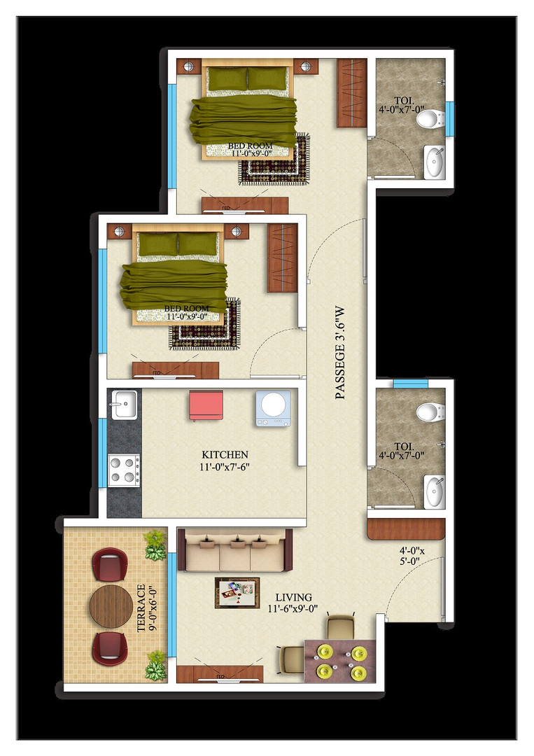 2BHK- 549 square feet