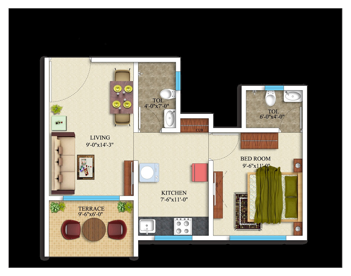 1BHK-378 square feet
