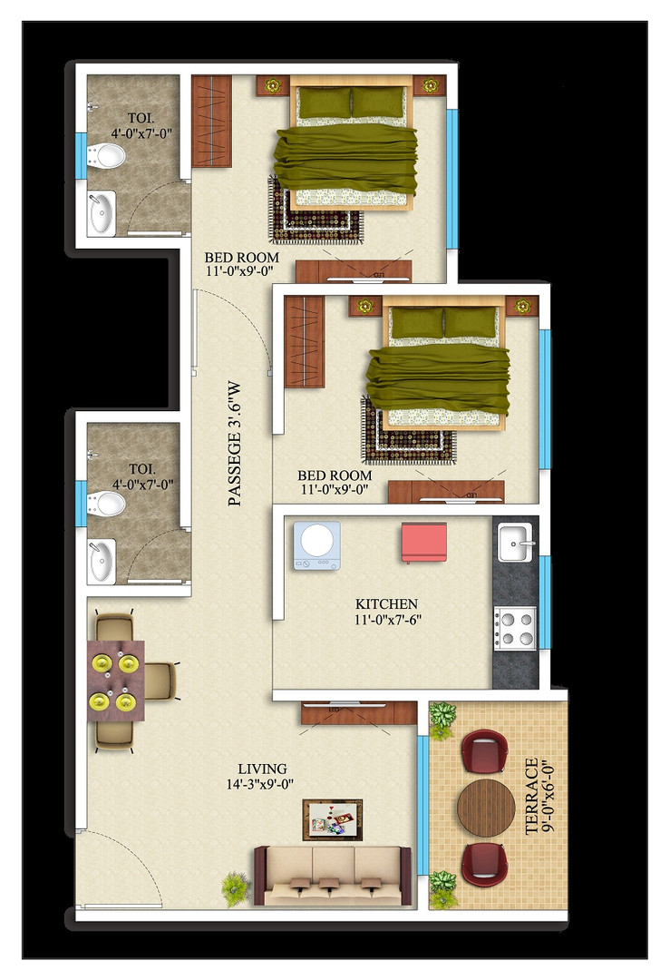 2BHK-569 square feet