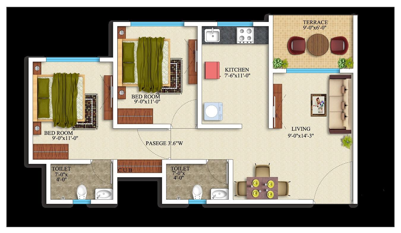 2BHK-578 square feet