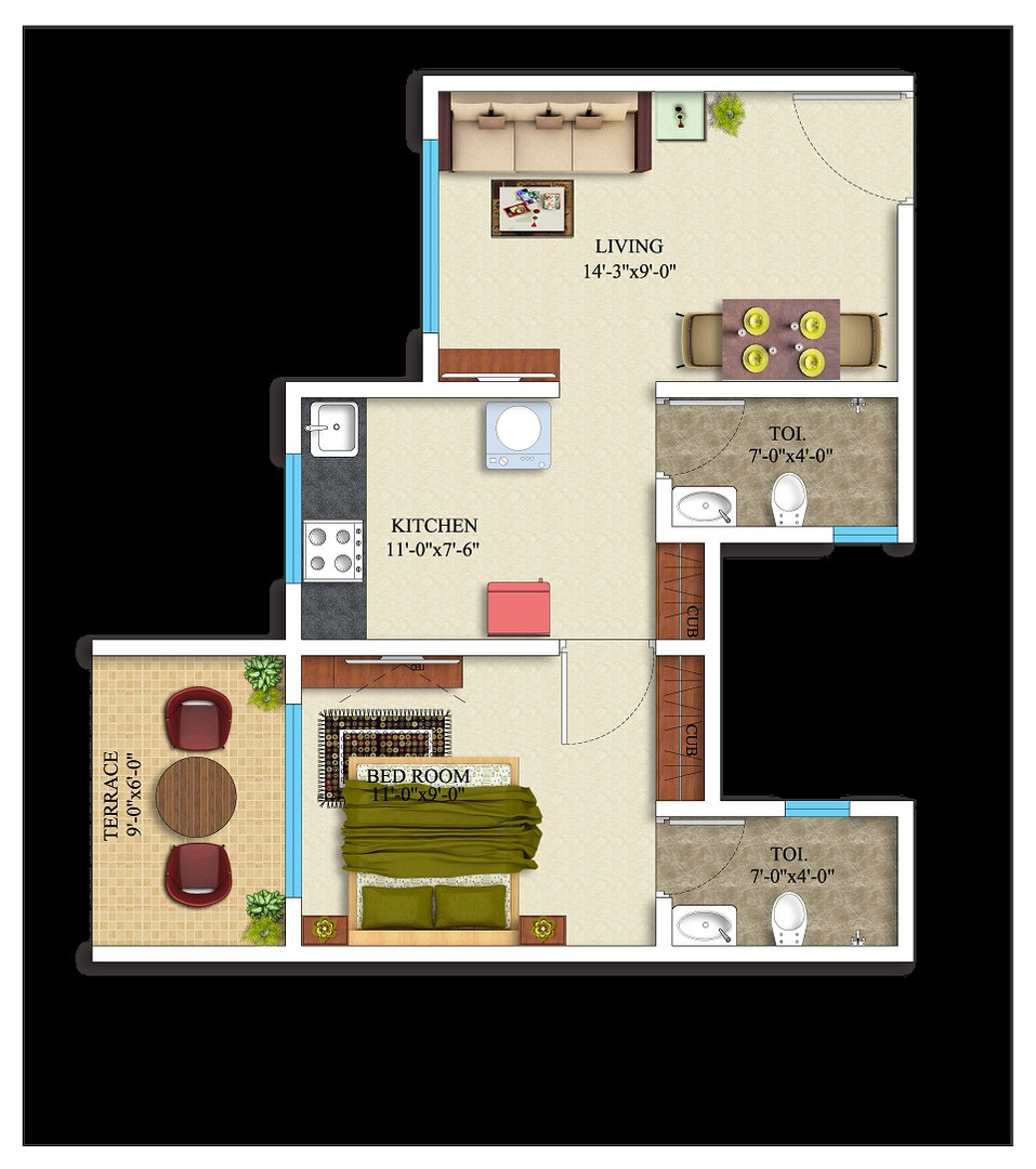 1BHK-389 square feet