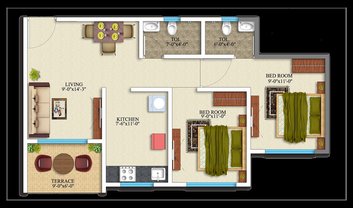 2BHK-563 square feet