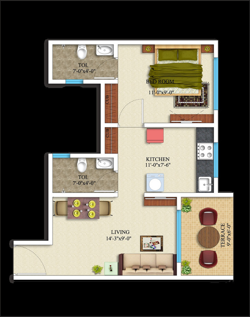 1BHK-400 square feet