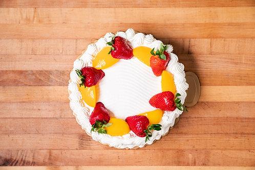 Strawberry Peach Vanilla Cake