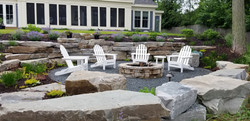 Lakeside sunken patio & fire pit