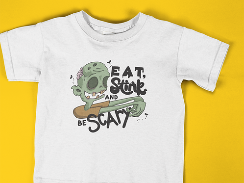 Eat Stink be Scary Kids Cute Zombie Halloween T-shirt