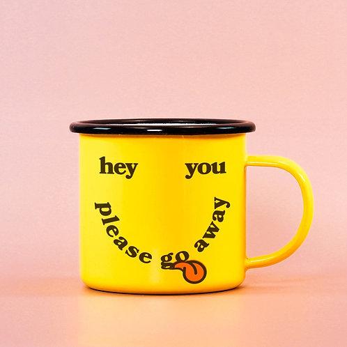Hey You Please Go Away Yellow Smiley Face Mug