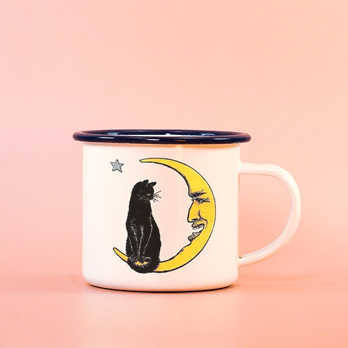 Enamel Black Cat Mug for Witches - Vintage Cat and Moon
