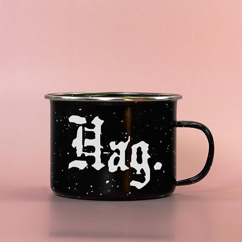 "Funny Feminist ""Hag"" Enamel Camping Mug"