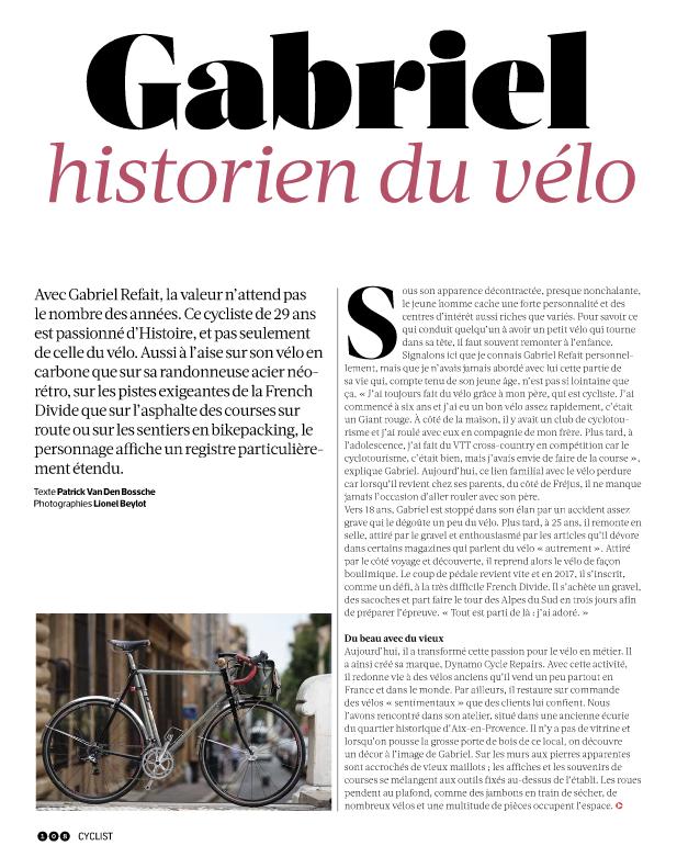 article gabriel refait historien du vélo vintage