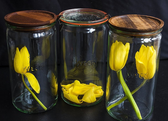Weck Cylinder Jars with Wooden Lids