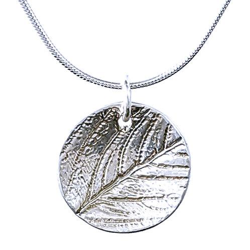 Sterling silver domed leaf pendant