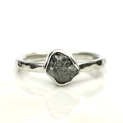 Grey rough diamond set in sterling silver ring