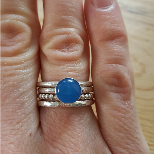 Blue agate stacking rings