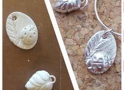 Ladybird and leaf pendants