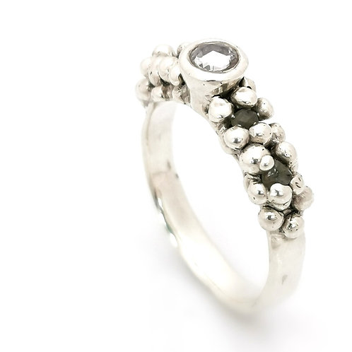 White Sapphire and diamond melt ring in recycled 9ct White Gold