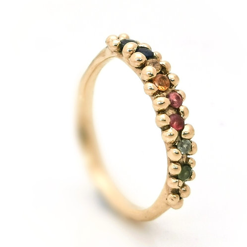 Rainbow Sapphire melt ring in Recycled 9ct yellow gold