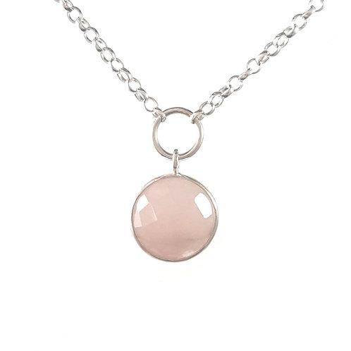 Rose quartz spectacle set pendant