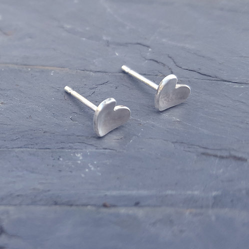 Tiny sterling silver domed heart studs