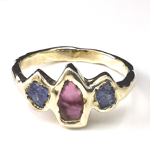 Raw Garnet and Sapphires in 9ct yellow gold