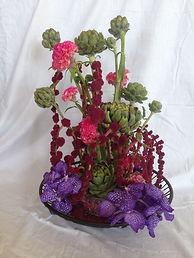 L'artichaut.Célosie,wanda violette et artichaut