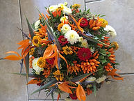 Strelizia ,piment orange, zinnia rouge et chrysantheme blanc
