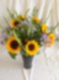 Le vase. Glaieul,agapanthe et tournesol
