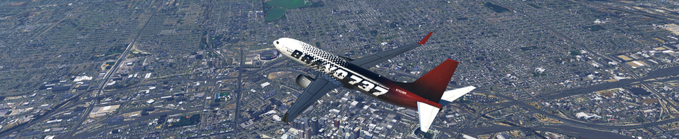 ZIBO 737 IN BRAVO 737 LIVERY FLYING OVER DOWNTOWN DENVER, COLORADO, USA