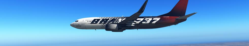 ZIBO 737 IN BRAVO 737 LIVERY FLYING OVER KDEN