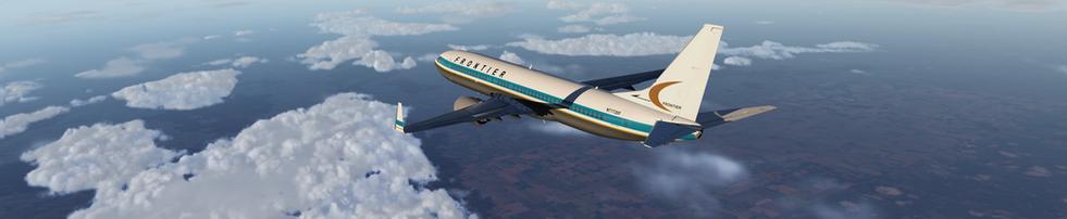 BEAUTY SHOT OF FRONTIER ZIBO 737 OVER NORTH TEXAS