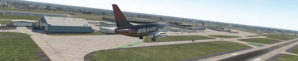 BRAVO 737-200 ON DIRTY LOW PASS OVER KDAL