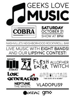 Geeks Love Music show flyer