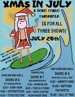 Xmas In July show flyer