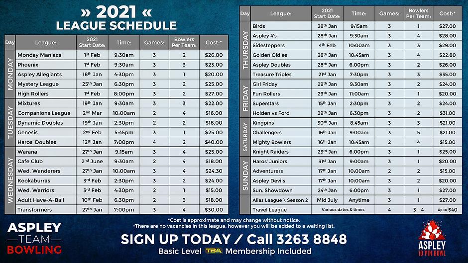 2021 League Schedule