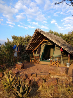 Maji Moto Eco Camp tents are furnished with mattresses, pillows, bedding and towels.