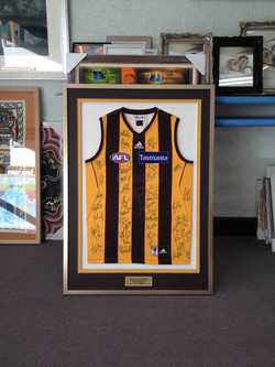 Sporting Memorabilia- Milford Framers- Framed Hawthorn jumper
