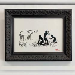 Framing-modernart-Mrs Banksy-black ornate frame2
