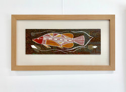 Timber Frame- floated artwork-Aboriginal painting of Fish 1
