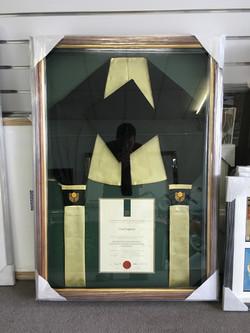 Memorabilia Framing-university graduation certificate and sash IMG_2227