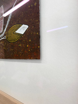 Timber Frame- floated artwork-Aboriginal painting of Fish 2