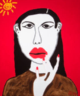 l'Espagnole, The Spanish Woman, Billy Cone Acrylic On Canvas, 48 inches by 60 inches Faceture Painting