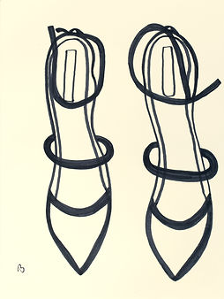 Billy Cone draws a pair of stilettos from overhead view