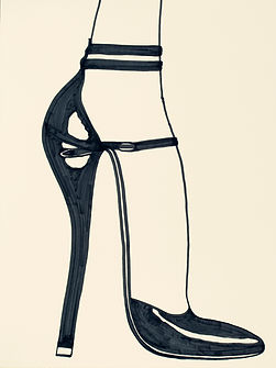 Billy Cone draws black pumps with ankle strap