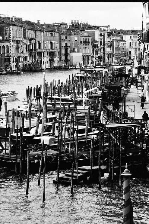 Looking out from Rialto Bridge